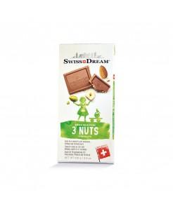 Tablette chocolat suisse au lait avec amandes, noisettes et pistaches