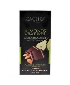 Tablette chocolat noir poires & amandes 100g
