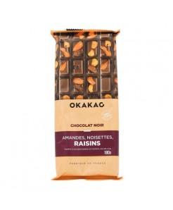 Tablette chocolat noir aux amandes, noisettes et raisin 100g