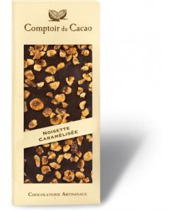 Tablette de chocolat noir avec noisettes caramélisées 100g