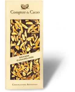 Tablette de chocolat noir avec amandes caramélisées 100g