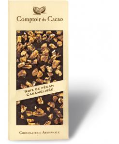 Tablette de chocolat noir avec noix de pécan caramélisées 100g