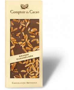 Tablette chocolat lait avec amandes caramélisées 100g