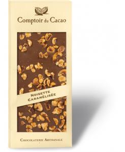 Tablette de chocolat lait avec noisettes caramélisées 100g