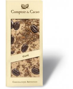 Tablette chocolat blanc au caramel avec grains de café 100g