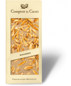 Tablette chocolat blanc au caramel avec amandes caramélisées 100g