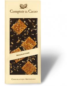 Tablette chocolat noir avec carrés de nougatine 100g