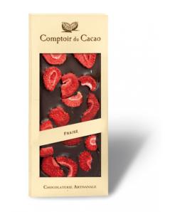Tablette de chocolat noir avec fraises 100g