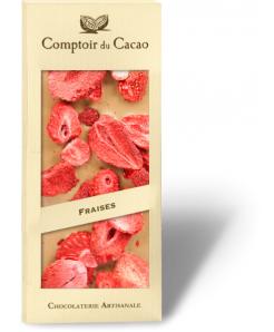 Tablette de chocolat blanc au caramel avec fraises 100g