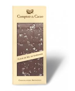Tablette de chocolat noir BIO avec fleur de sel de Guérande 100g