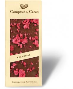 Tablette de chocolat lait BIO avec framboises 100g